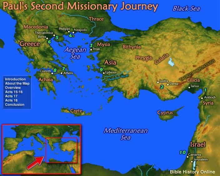 Map of Paul's Second Missionary Journey