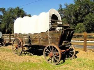 Wagon wheels turning