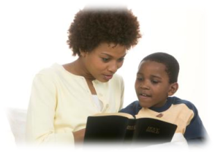 Mother and son reading the Bible